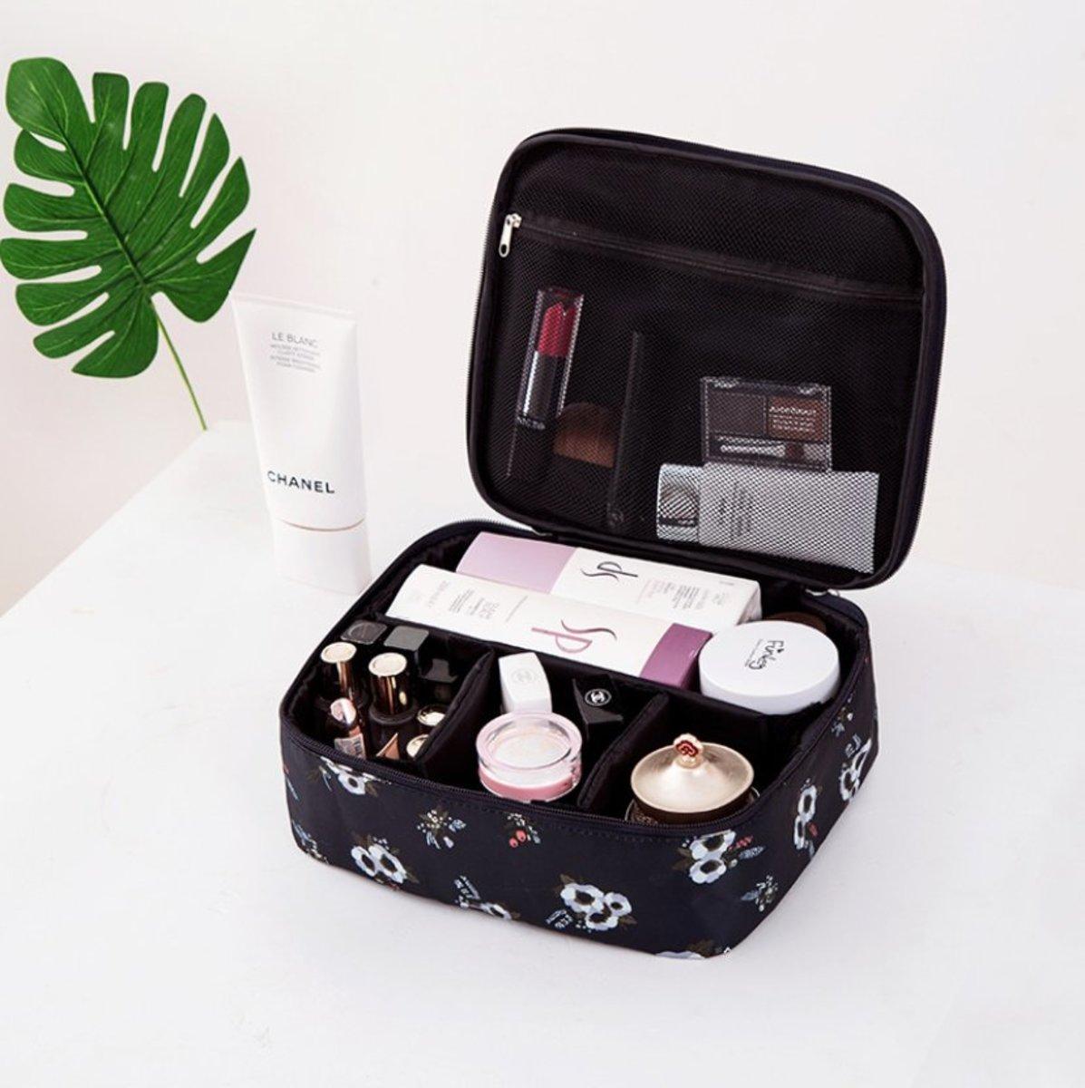 Travel Makeup Bag Portable Cosmetic Bag (Black Flower)