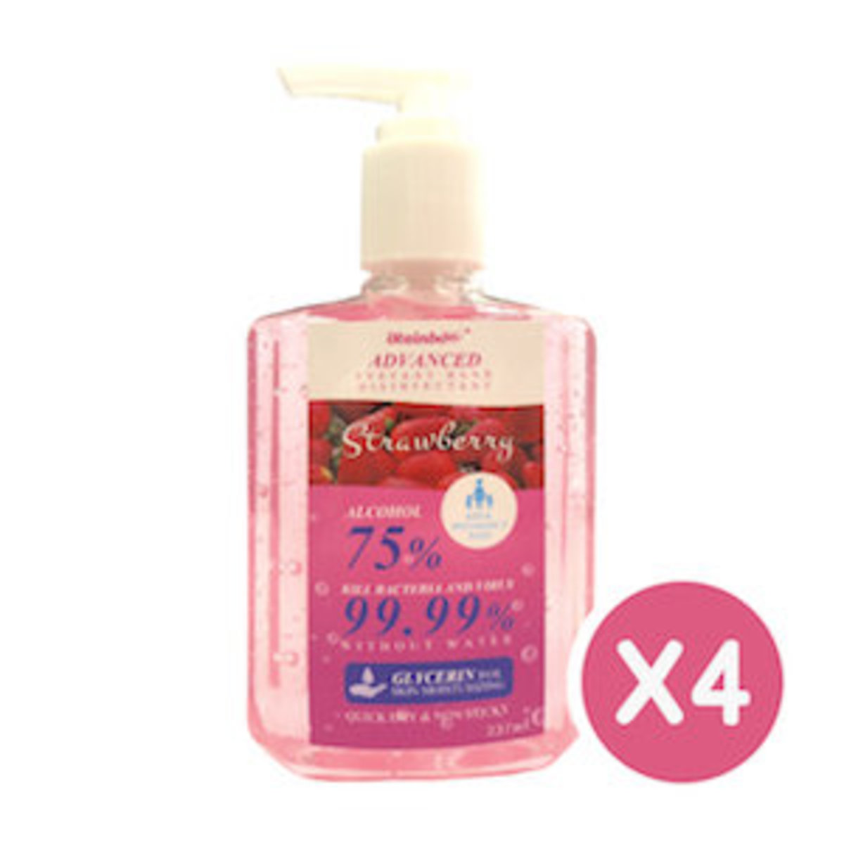 75%Alcohol instant Hand disinfectant(237ml)-Strawberry X4