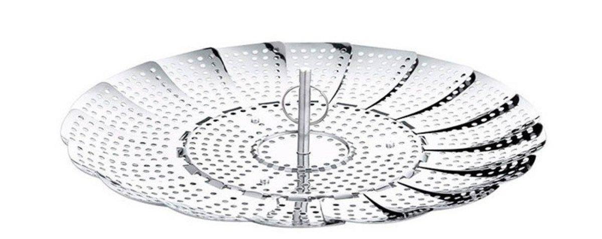 Multifunctional stainless steel telescopic folding steamer