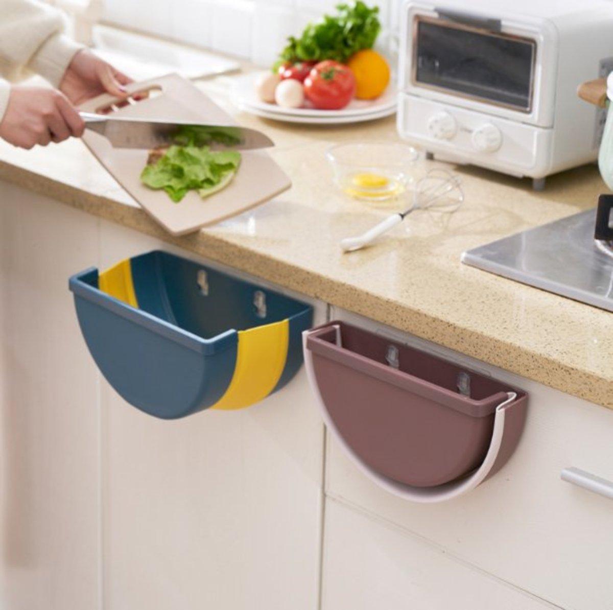 廚房摺疊垃圾桶 多功能可掛可貼牆 (藍色/啡色)
