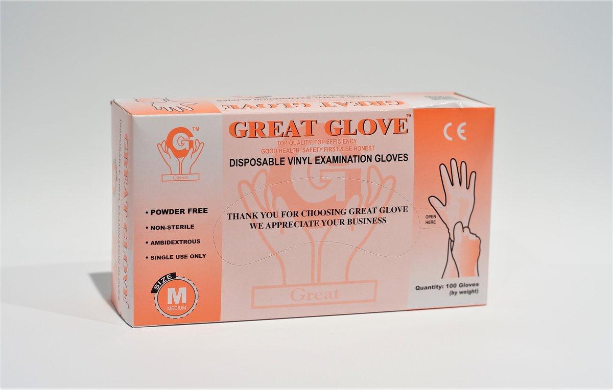 (橙盒) 加厚 P.E.手套 (無粉) 中碼, 100只/盒