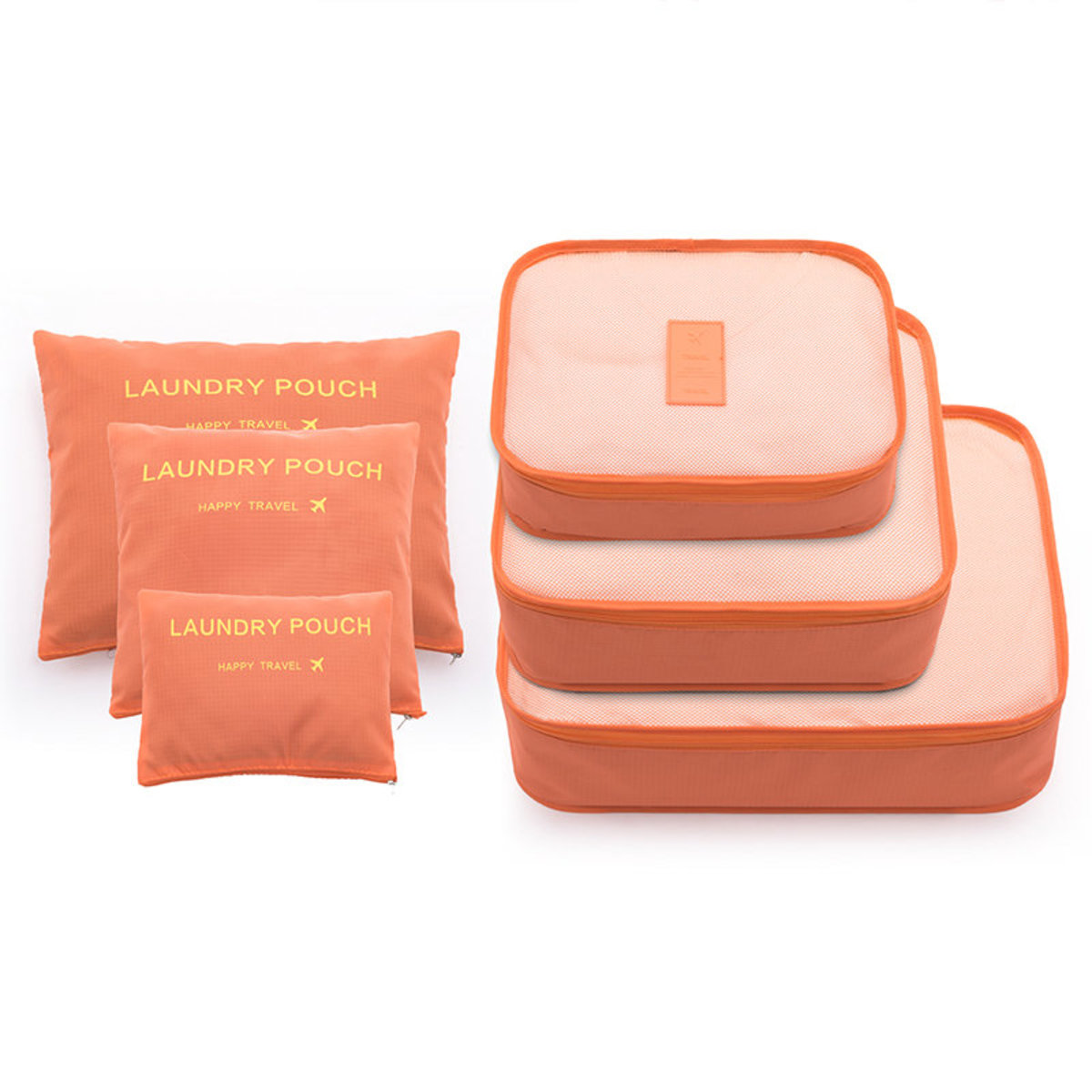 日式家用/旅行收納袋 (1套6件) - 橙色