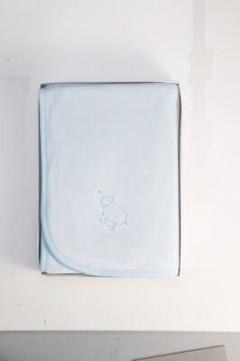 Blue Velour Hippo Basinet Blanket