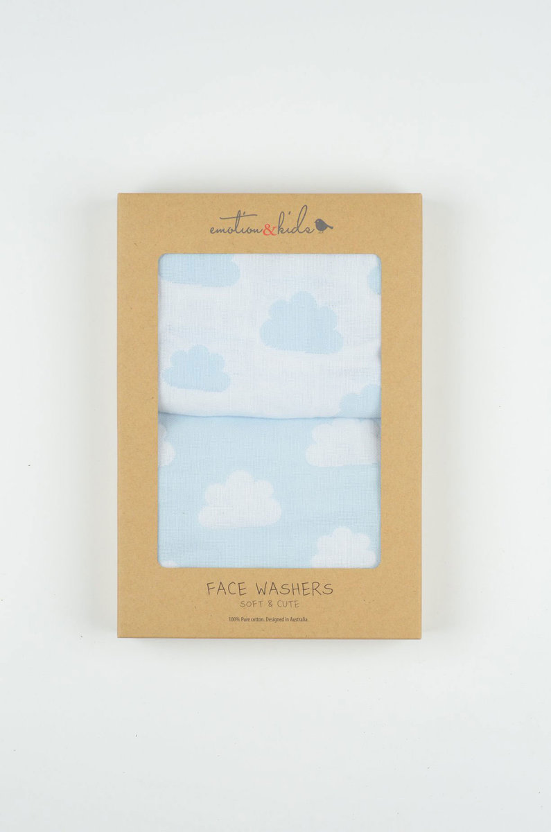 Blue Cloud Muslin Face Washers