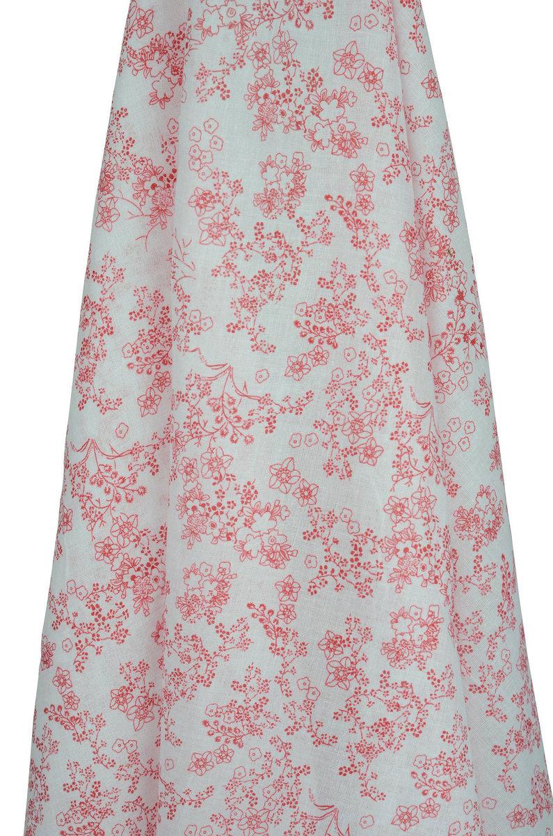 日式印花紅紗巾