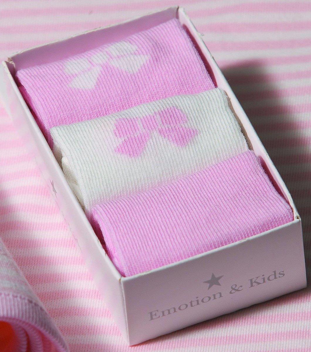 粉紅蝴蝶結襪子三件 3-6個月