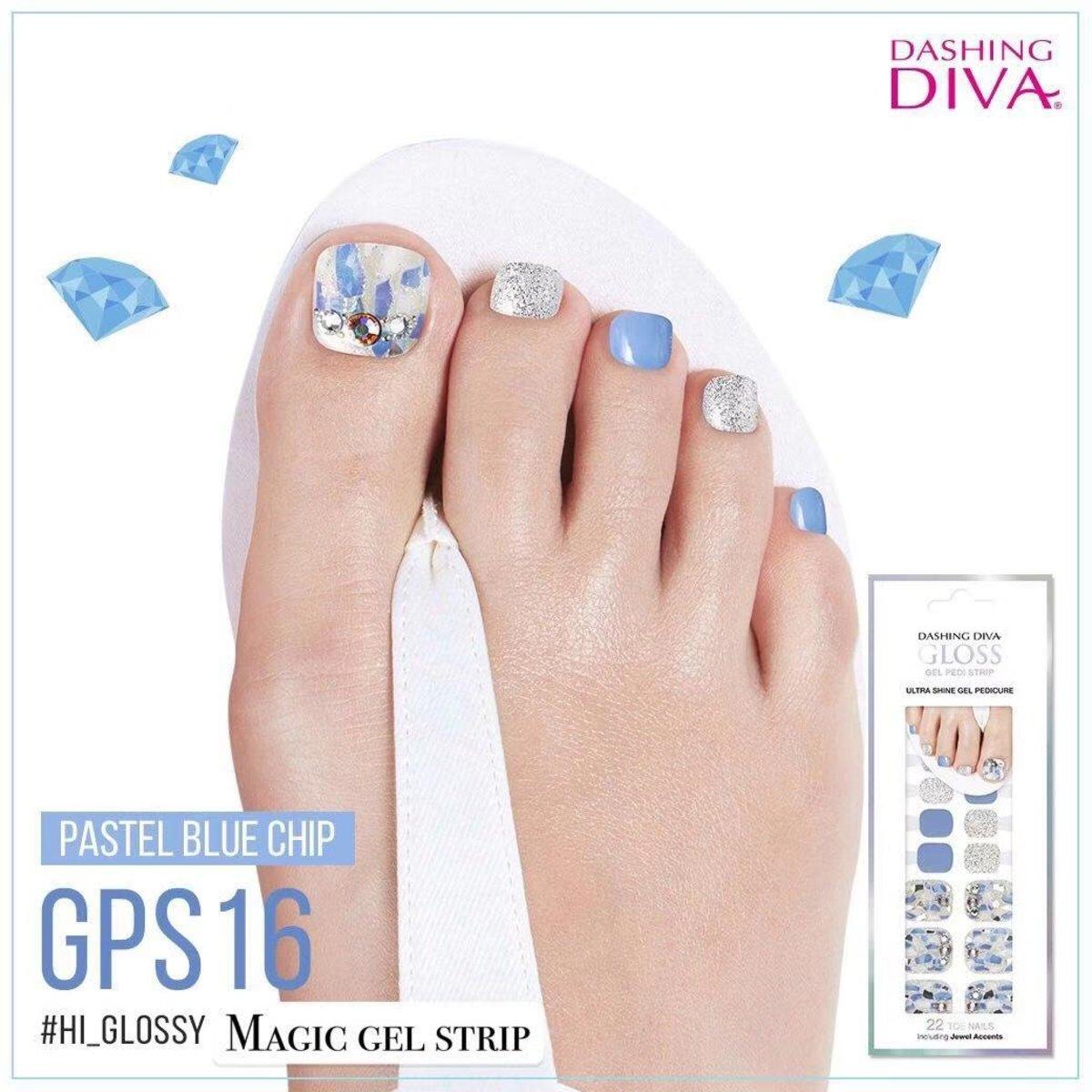 Magic Gel Strip GPS16 足部彩繪美甲貼 - 粉藍光影