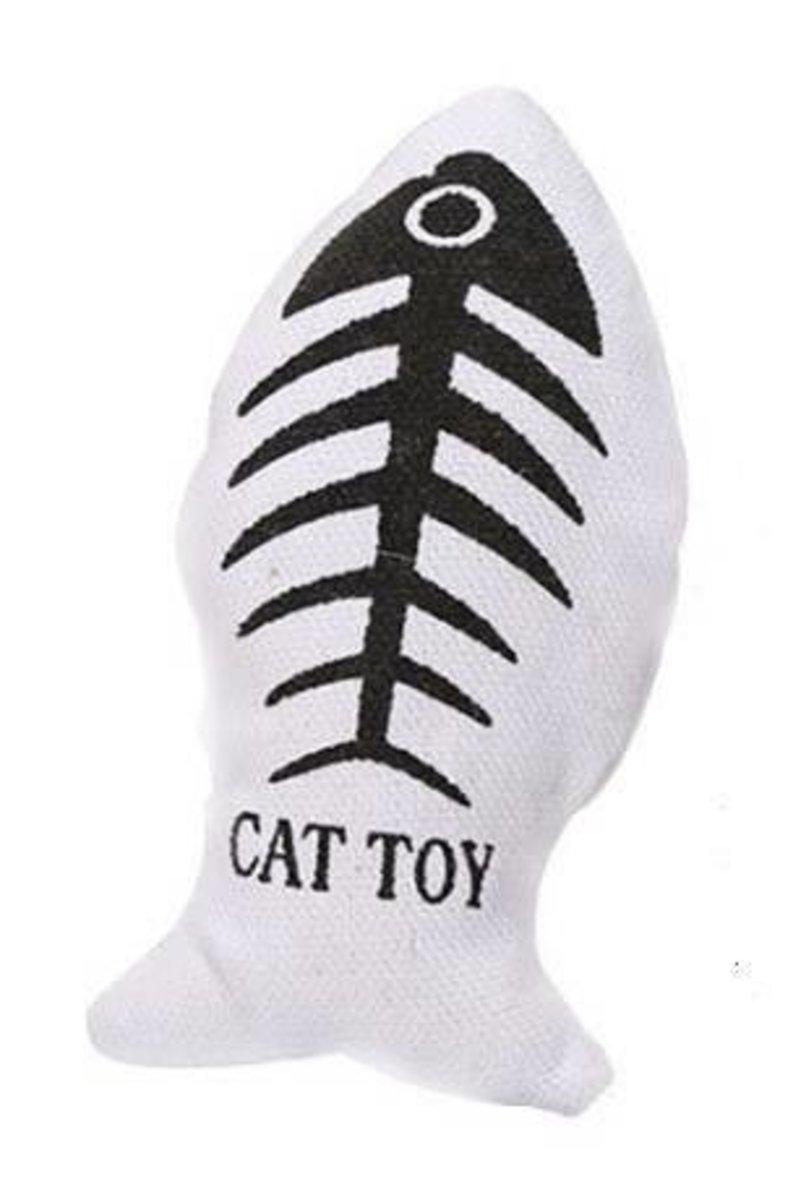 貓薄荷帆布魚逗貓玩具(耐抓耐咬)