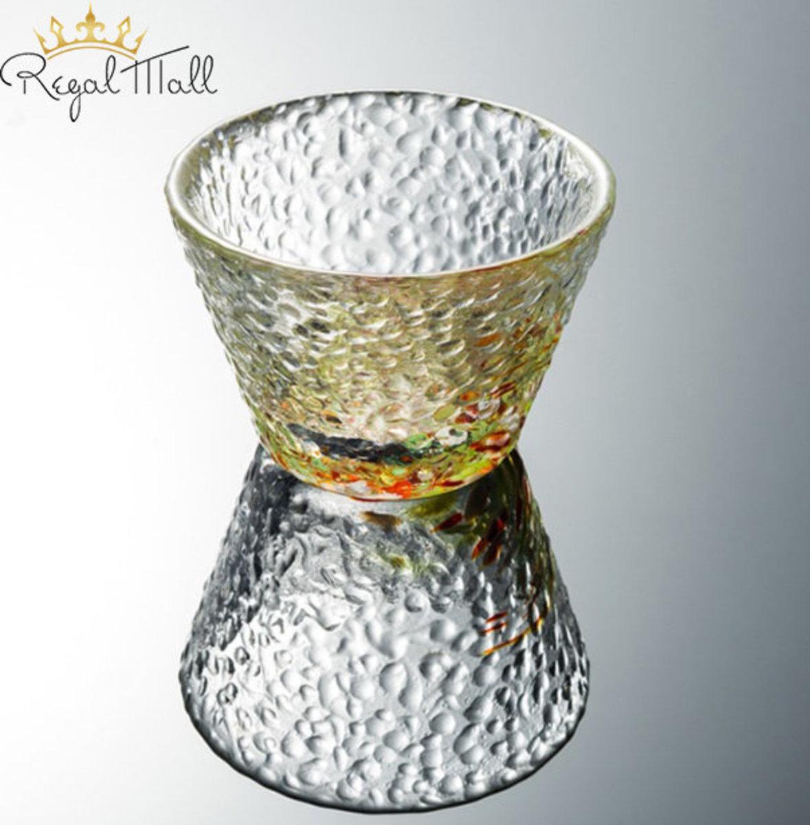 日式錘目紋小酒杯/小茶杯 (琉璃紅綠)