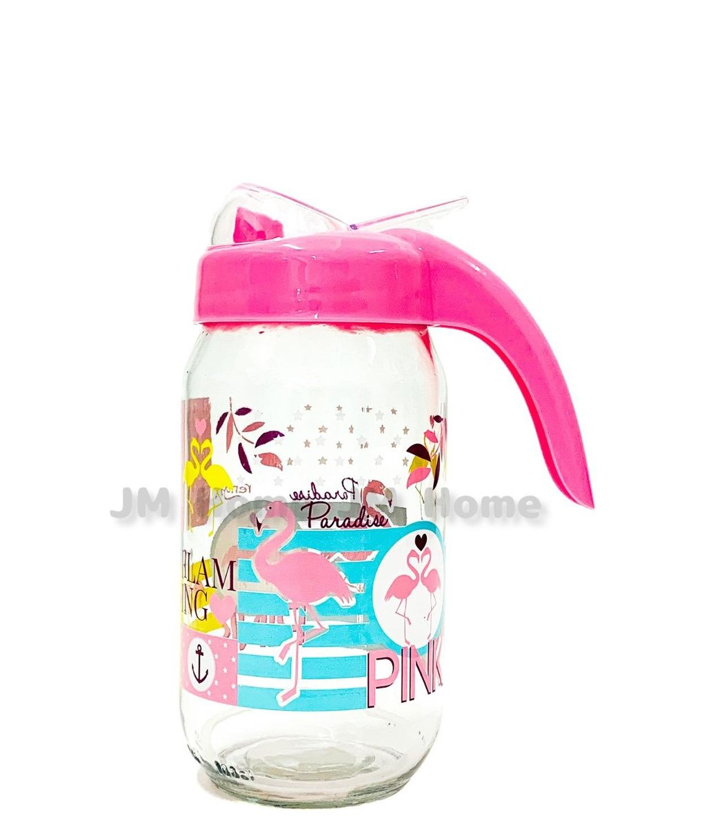 (Pink)1000cc Oil Glass Bottle Container with handle