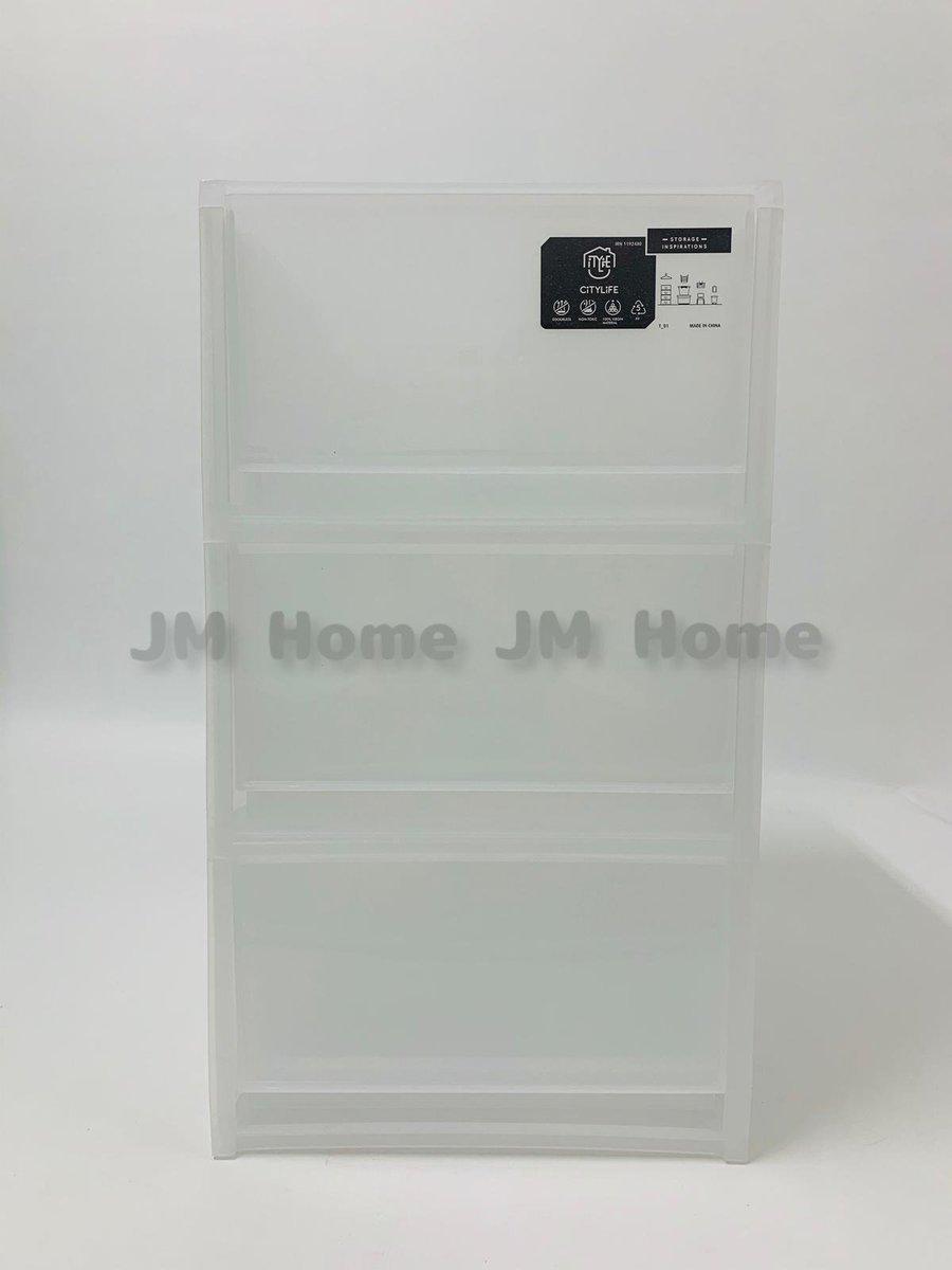 Citylife 3層文件收納盒(A4 Size)磨砂透明
