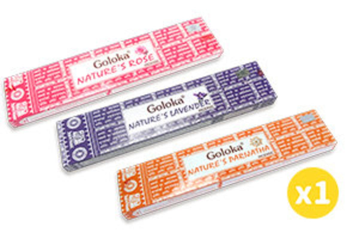 Goloka Natures Rose, Lavender, Parijatha Incense- 15g (Each 1pc)