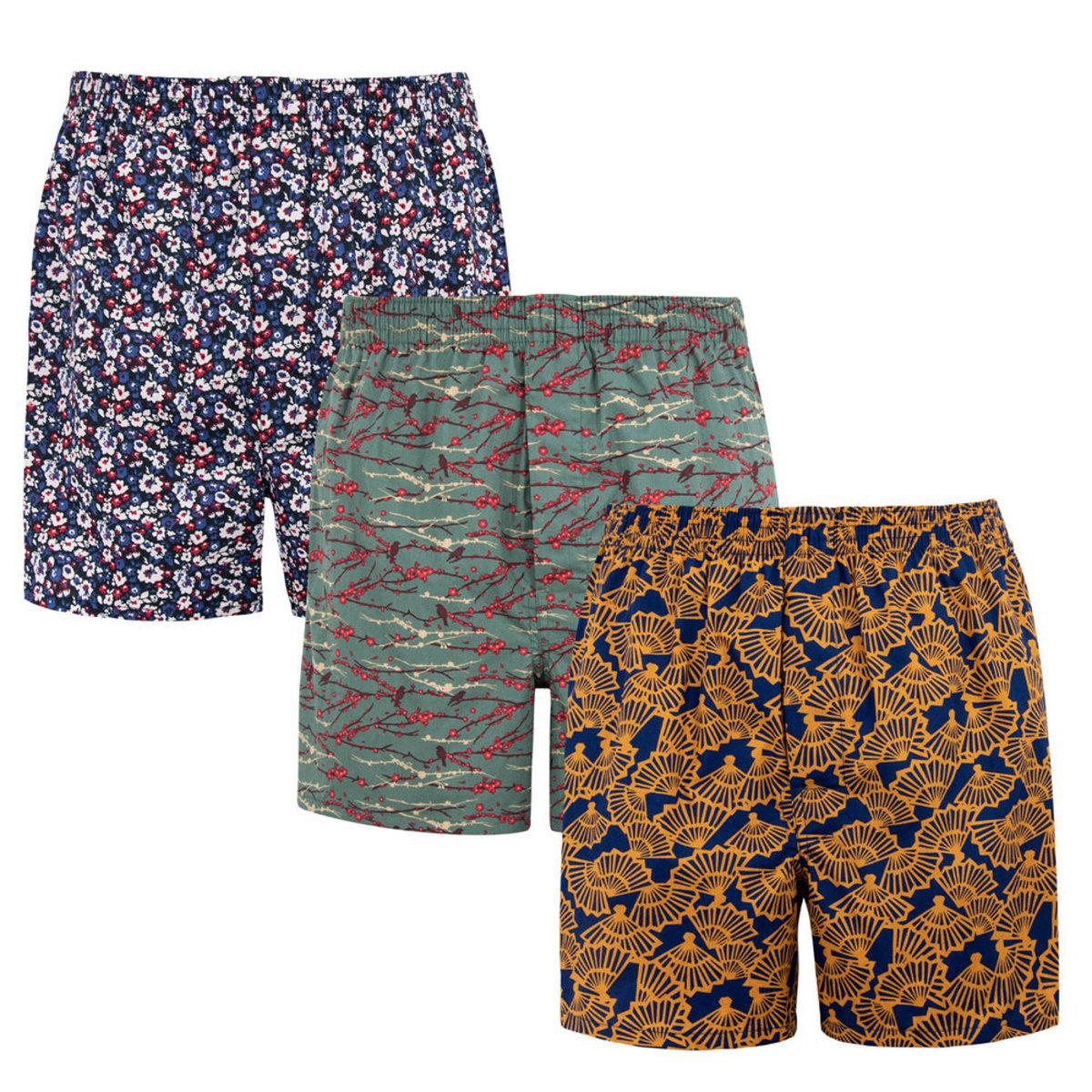 男裝梭織和風系列印花平腳內褲(三條裝)