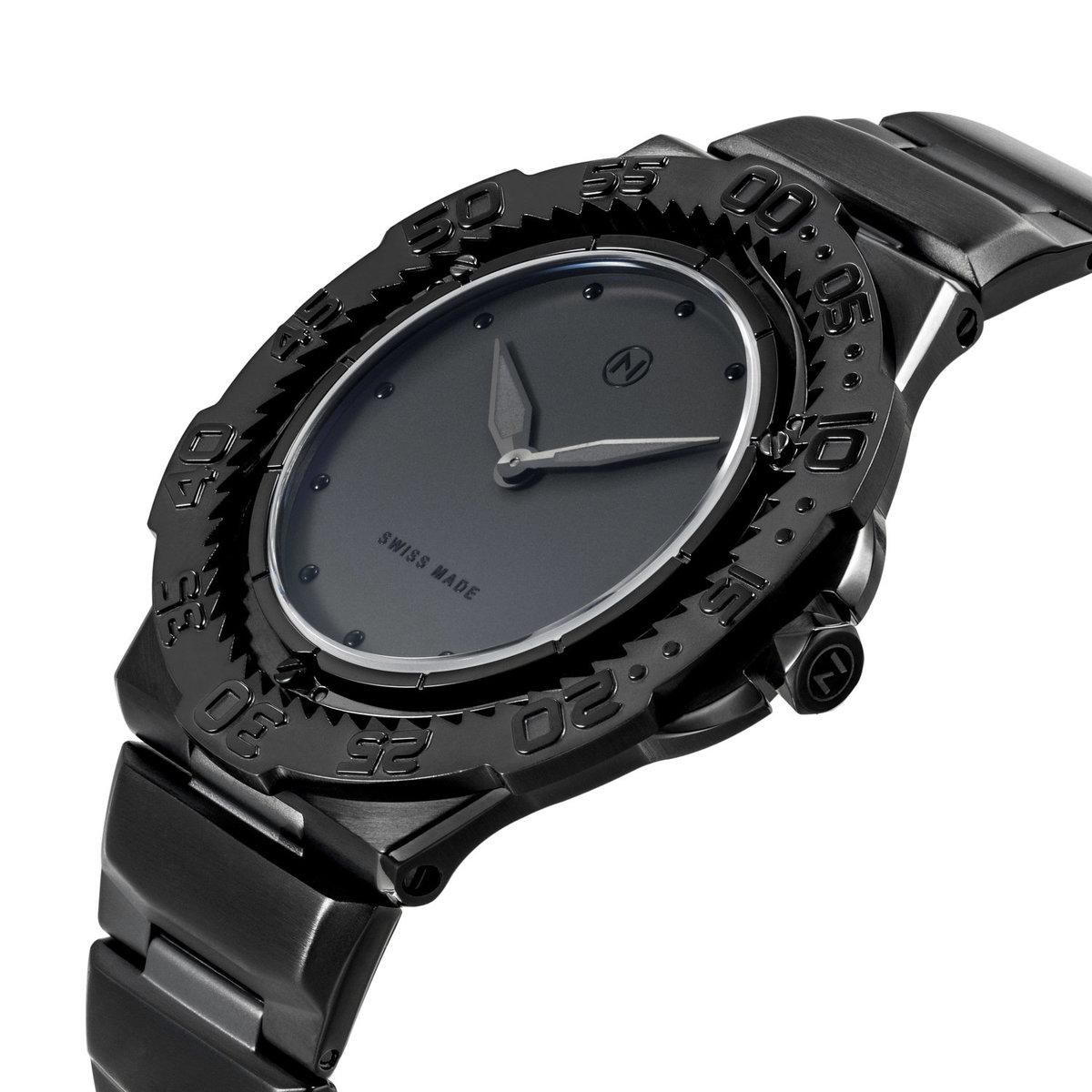 瑞士 NOVE Trident 系列 超薄男士石英潛水錶 (黑色 E002-02)