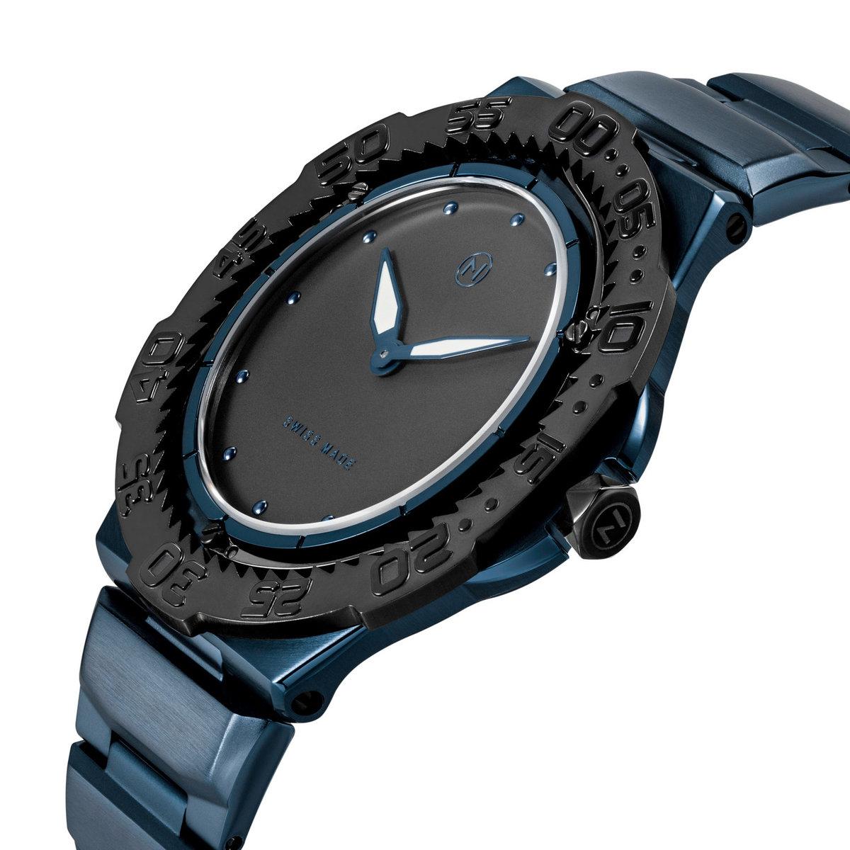 瑞士 NOVE Trident 系列 超薄男士石英潛水錶 (藍黑色 E010-02)