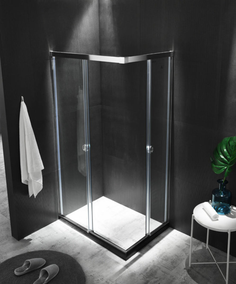 "304 Stainless Steel Shower Enclosure8B2242 (Black hairline steel - Within W50""xH72"")"
