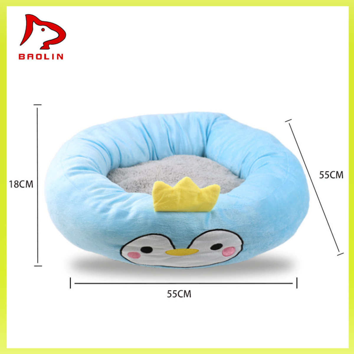 Dog's nest - Plush sofa nest (Penguin) - round - Large