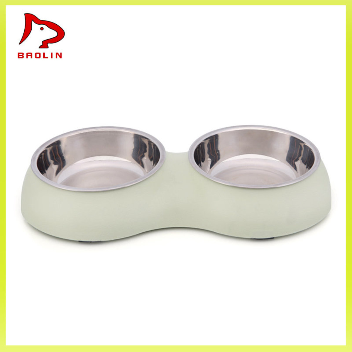 Macaron Style Double Bowl - Stainless Steel