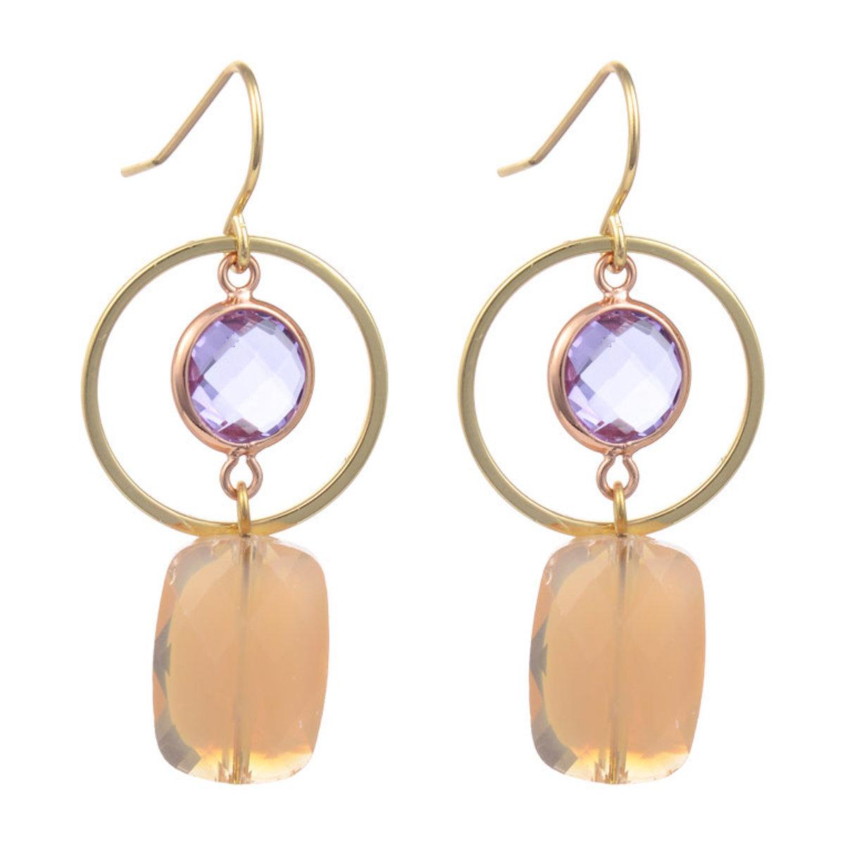 Circle Glass Beads Earring