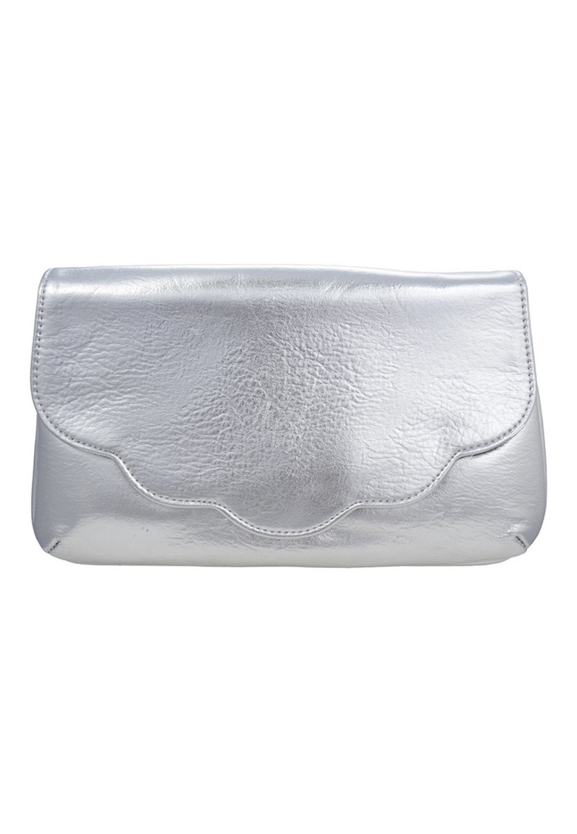 Silver Scallop Clutch Bag