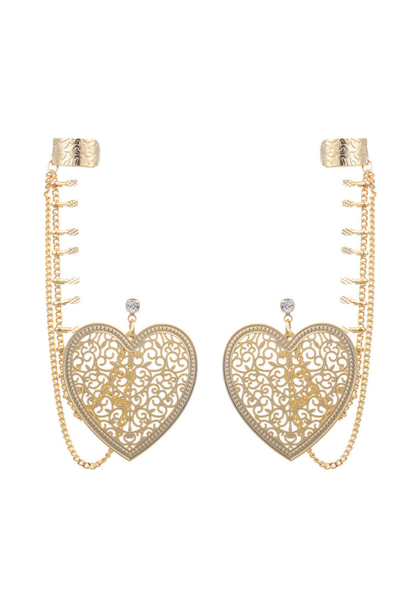 Gold heart-shaped Earring