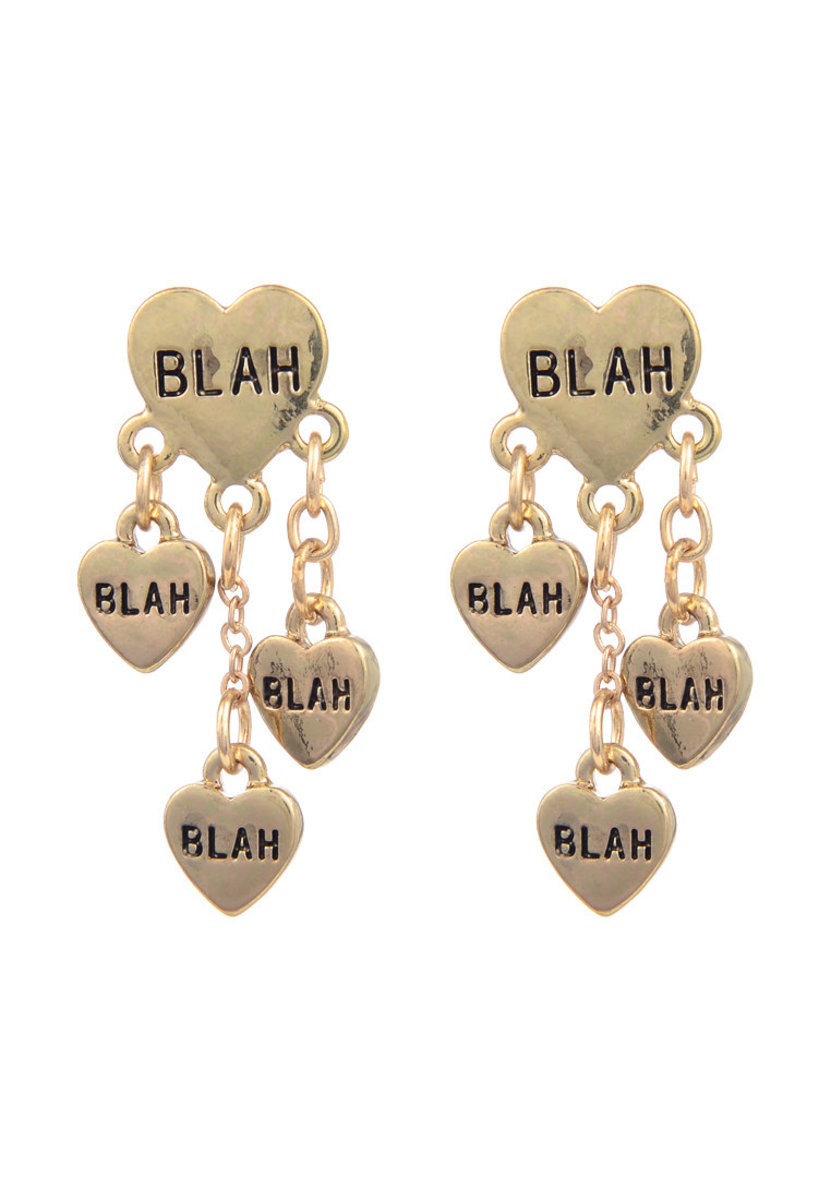 BLAH BLAH BLAH Gold heart Drop Earring