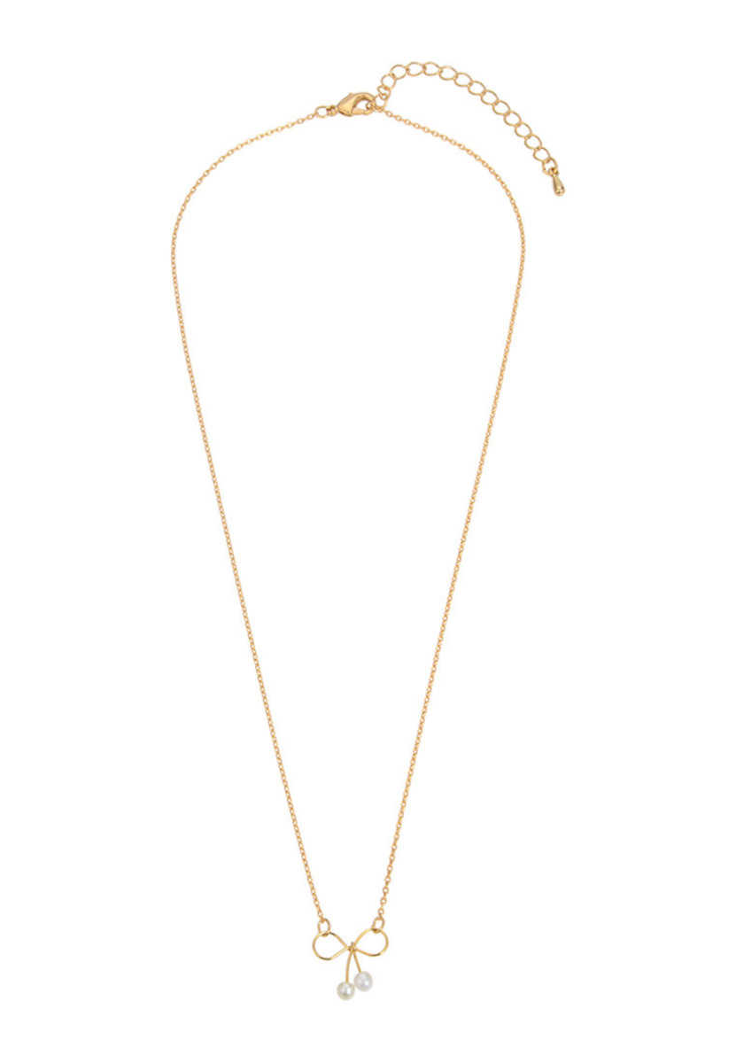 Gold plated Ribbon Pearl Necklace