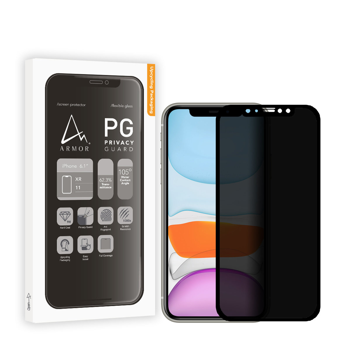 Flexible Glass Screen Protector_Full Coverage_9H with Privacy Guard for iPhone 11 / XR