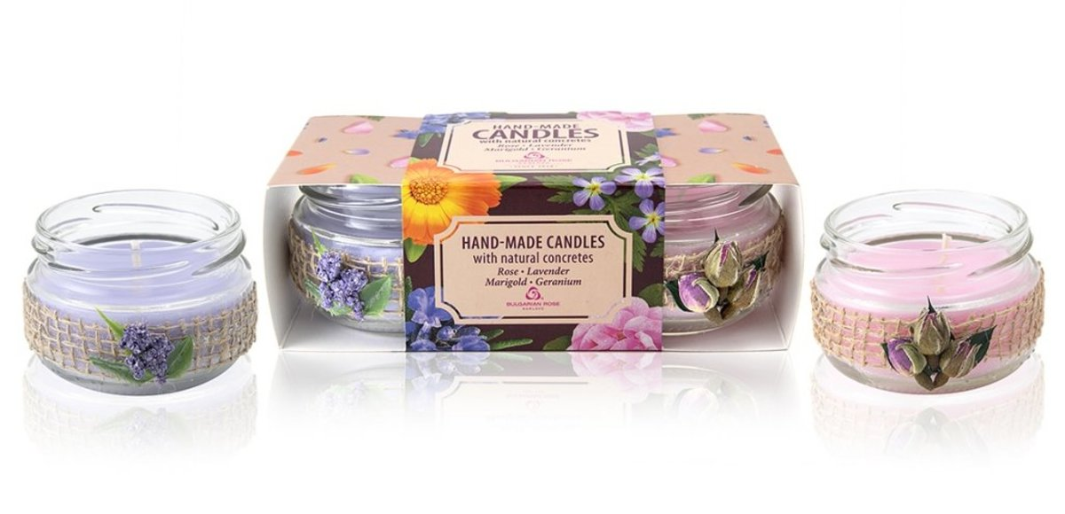 Handmade Candles with Natural Concretes (Rose and Lavender) (Pack of 2)