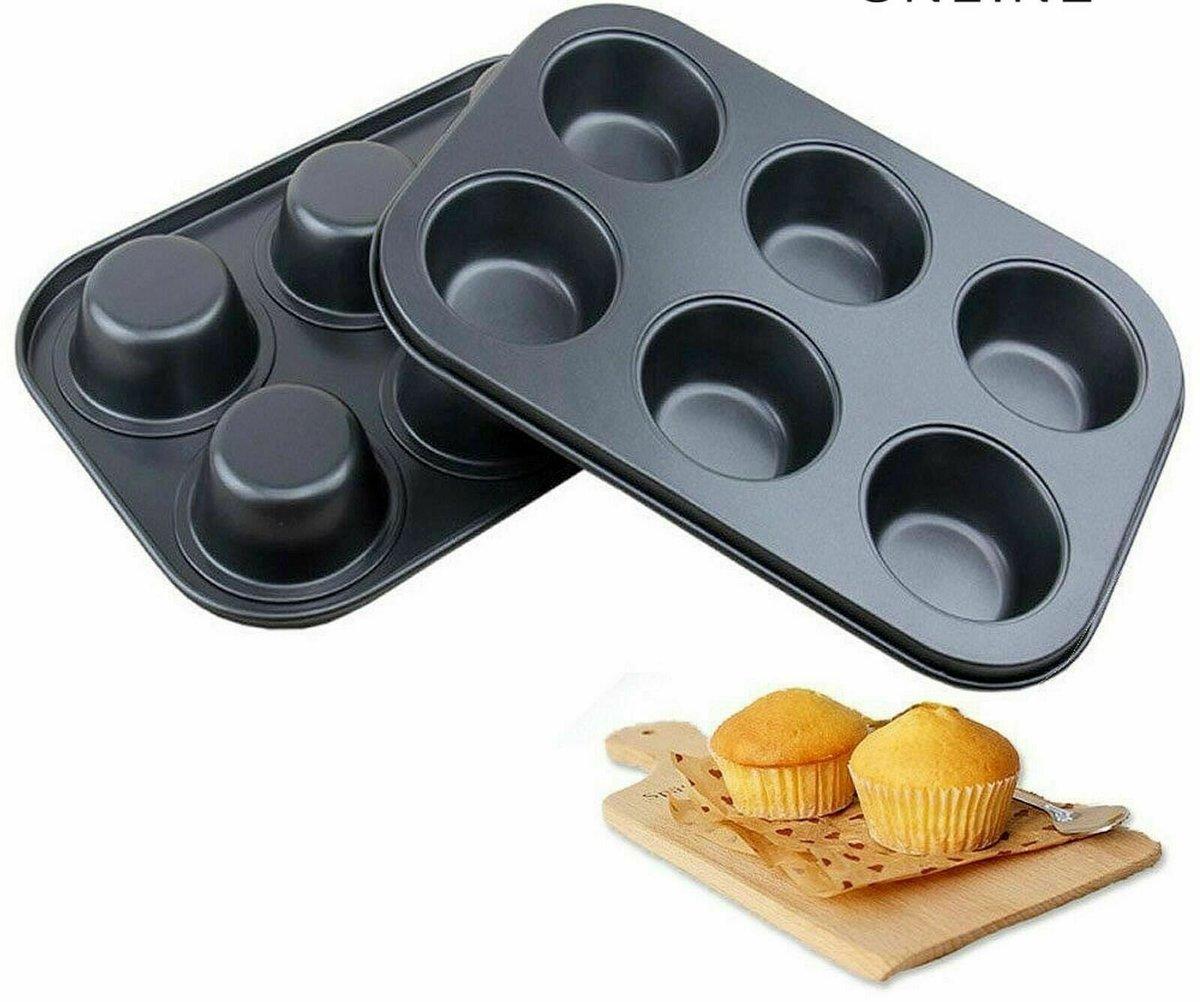 6連圓杯形蛋糕 優質碳鋼模 不粘模 蛋糕烤盤 烤焗 烘焙工具 蛋糕模(六連圓孔)