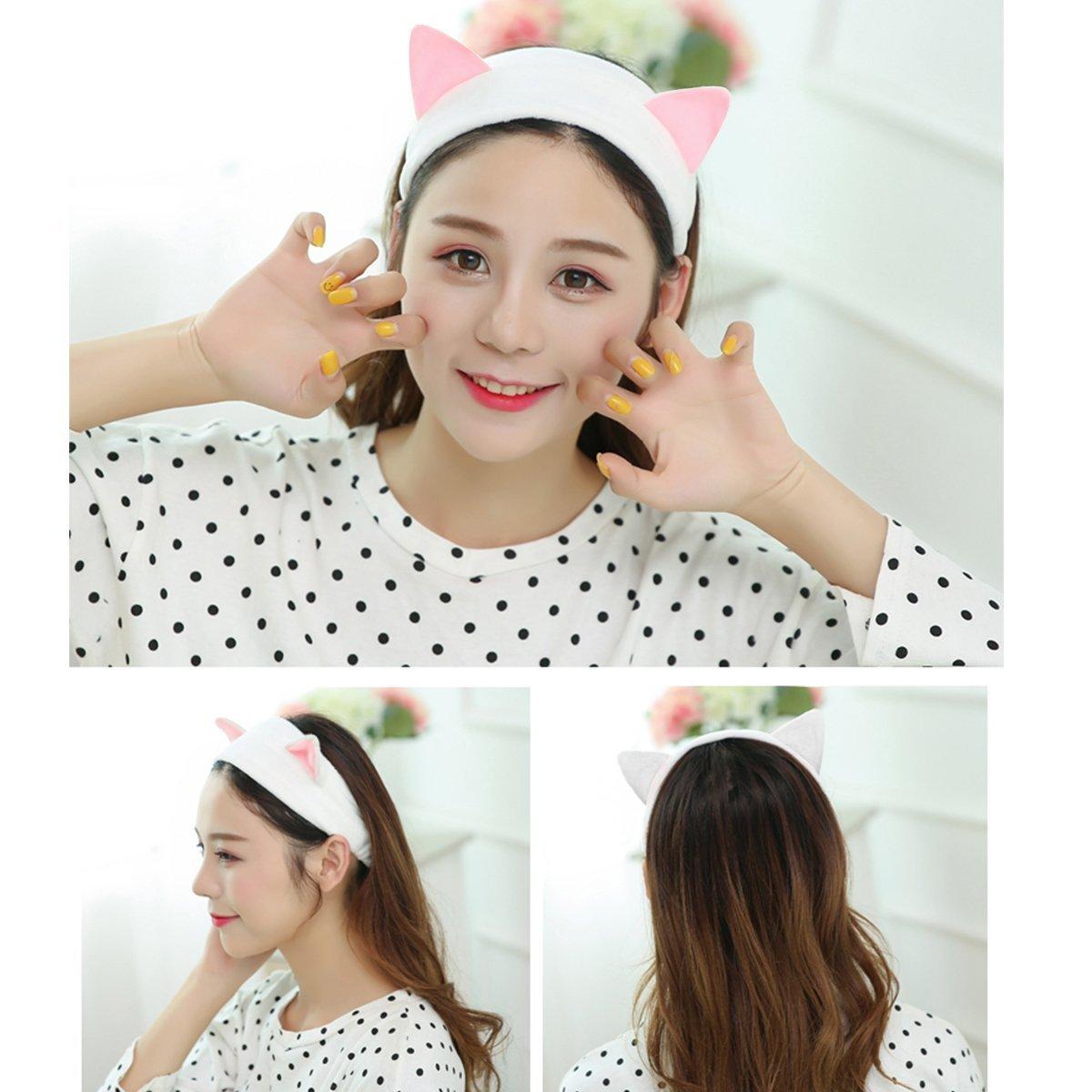 Women's Cat Ear Headband - Fashionable Cute Fluffy Elastic Makeup Headband Hairband for Shower