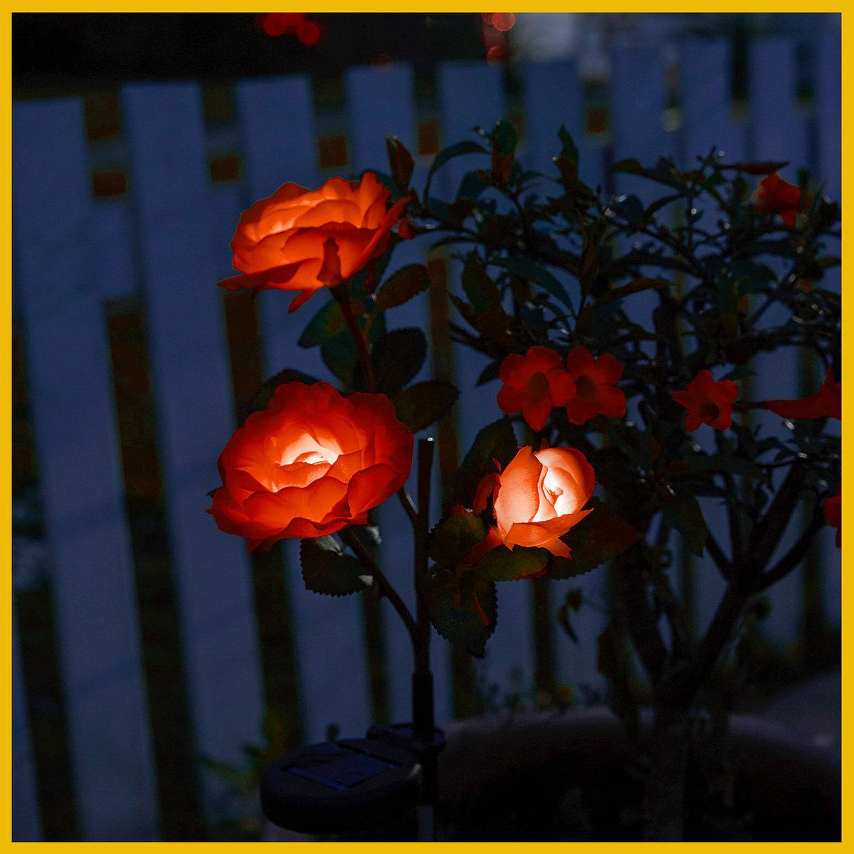 Solar Powered LED Rose Stake (Red)