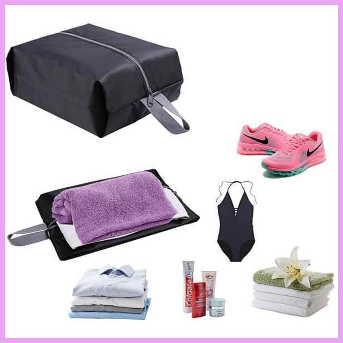 2 Pcs Travel Storage Shoe Bag (Black)