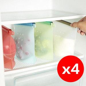 日本暢銷 4個 矽膠保鮮袋 環保矽膠食物保鮮密封袋 1L