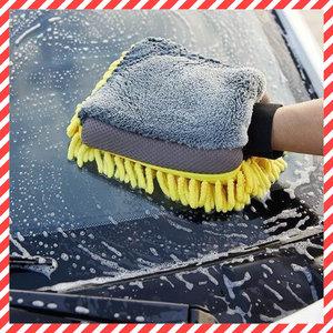 日本熱銷 快乾無痕 超細纖維海綿洗車2合1手套-1隻 洗車 抹車 海綿 吸水不掉毛