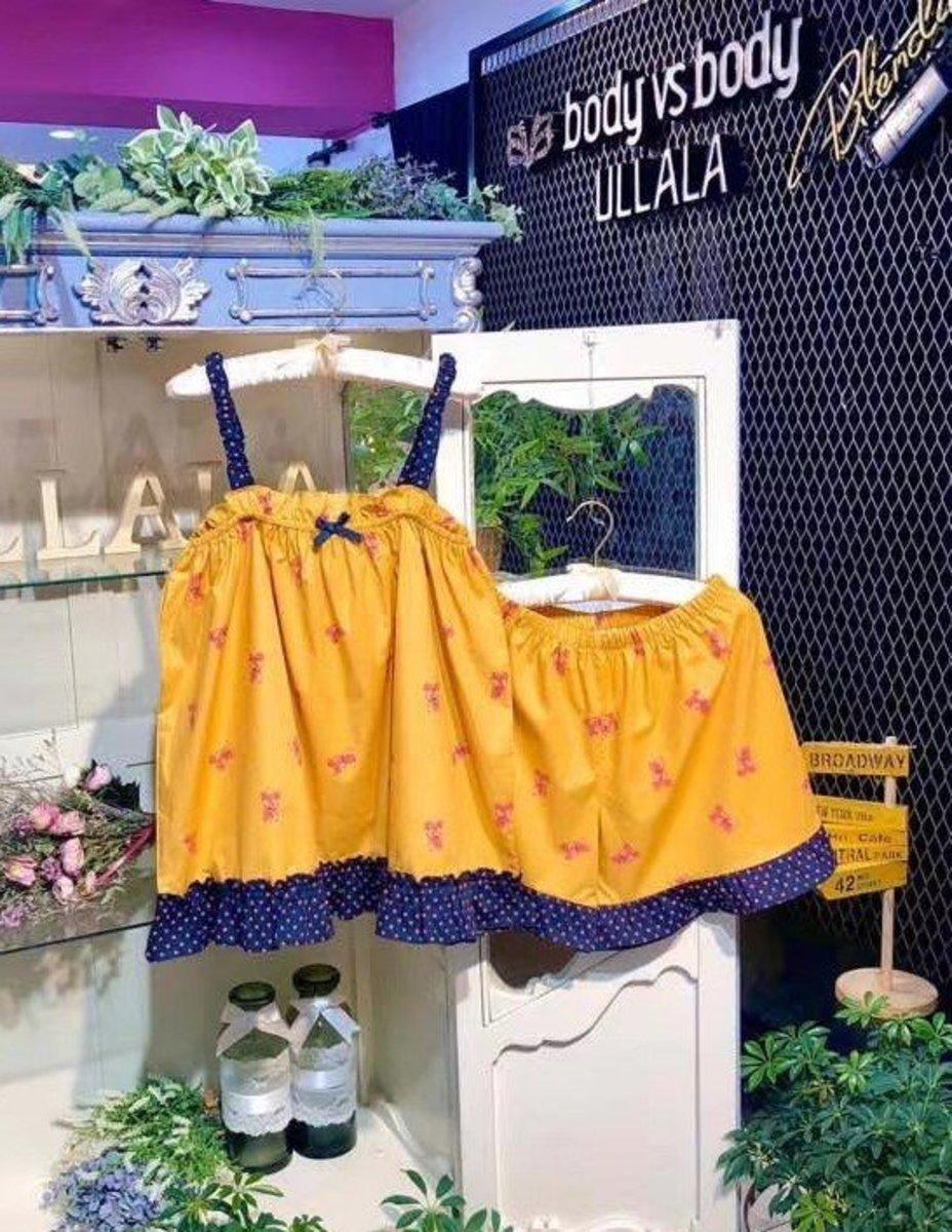 Ullala-Pajamas/Bear Vest+Short Pants/Set/Yellow