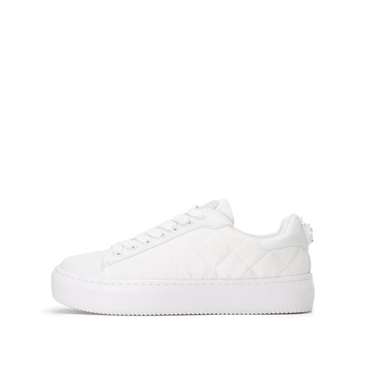 WHITE CHECKED PLATFORM SPORT SHOES IN