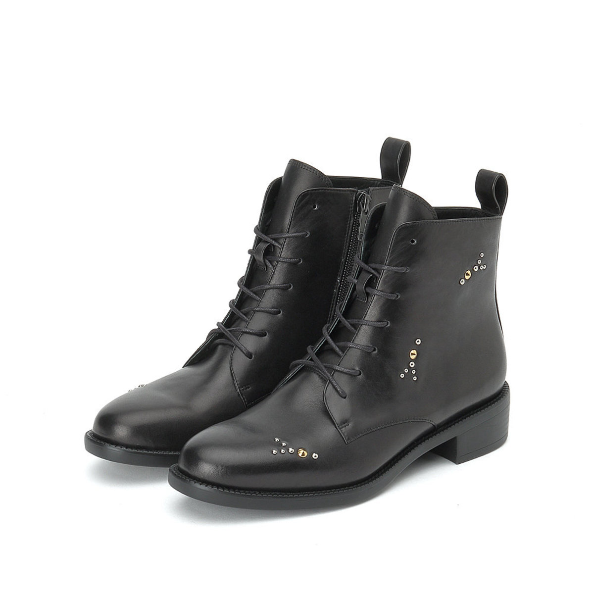 Calf Lace Up Boots in Black