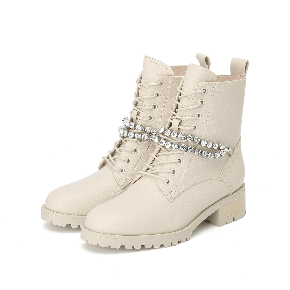 Crystal Chain Lace-up Boots