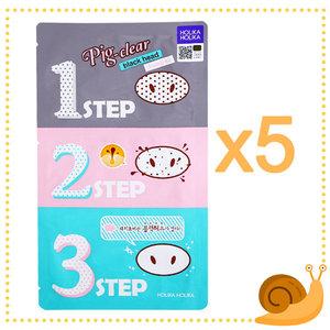 Holika Holika 5片裝 - 粉紅豬鼻貼 強效去黑頭收毛孔三步驟 粉刺救星 [平行進口] 5pcs