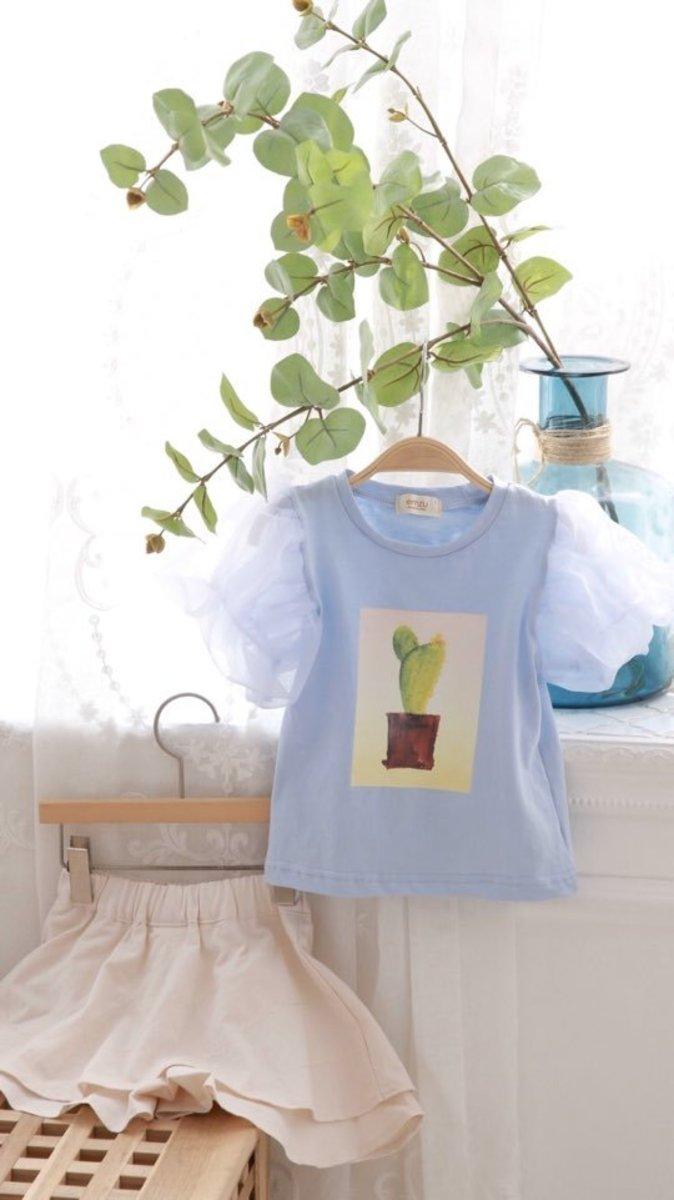 韓國 藍色仙人掌紗袖上衣