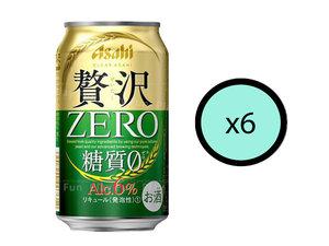 朝日 【6件優惠裝】贅沢極級零糖小麥啤酒 350ml【Parallel Import】