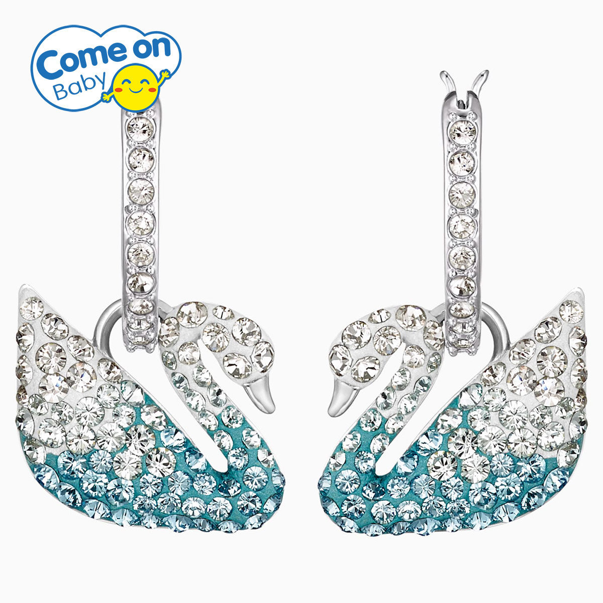 SWAROVSKI - Iconic Swan Pierced Earrings - Multi-colored, Rhodium Plated [5512577]