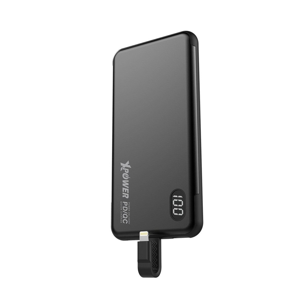 (NEW) PB10L 10000mah Power Bank w/build-in Lightning(18W)Cable(Black) XP-PB10L-BK