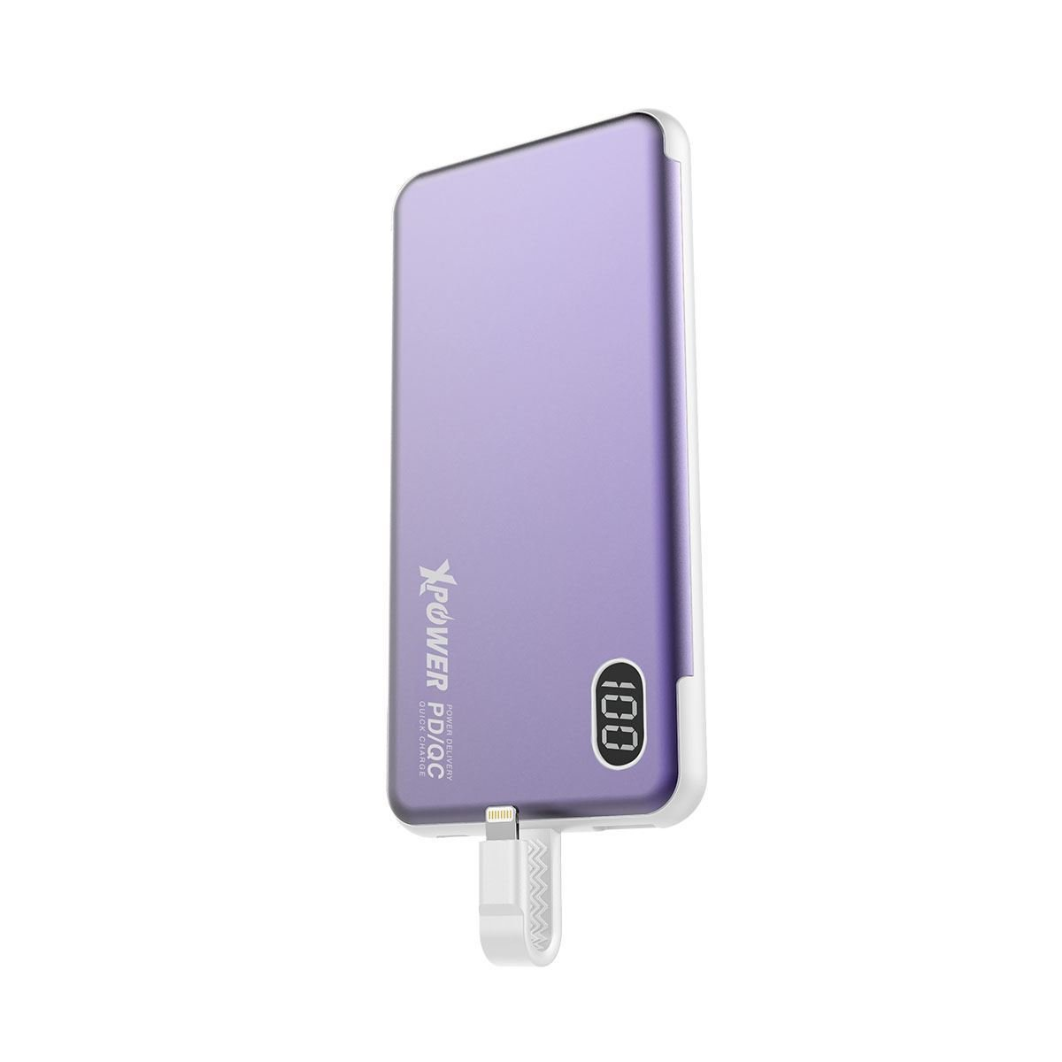 (新款) [紫色]PB10L 內置 PD Lightning線(18W)外置充電器-10000mah