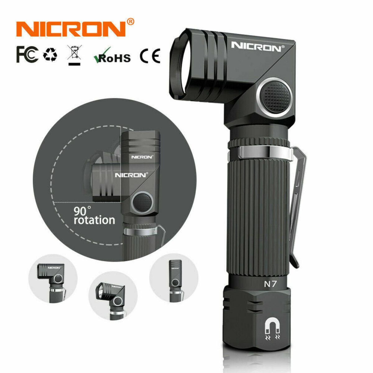 NICRON B007 700lumens LED Flashlight  90° angle head rotation Battery Included