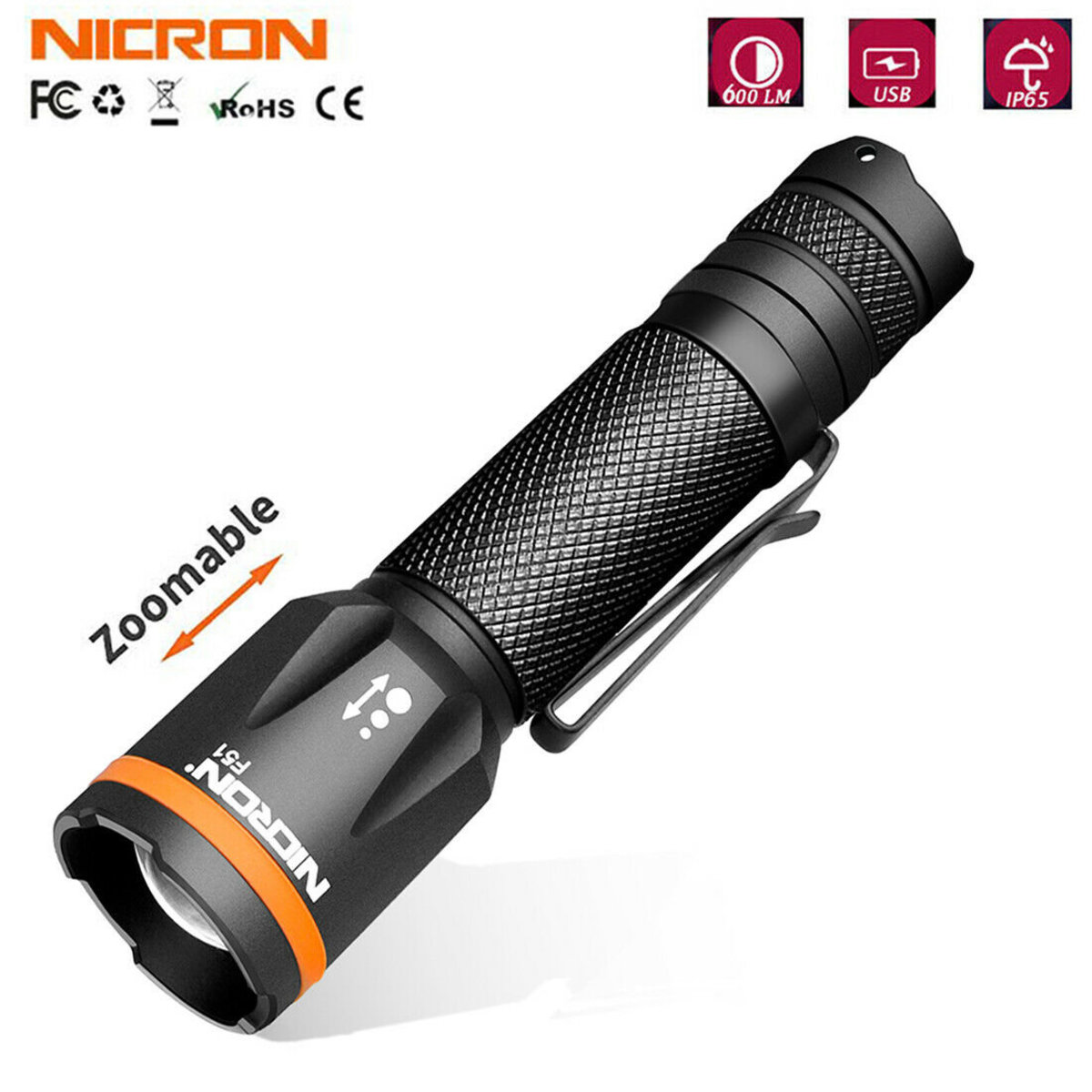 NICRON F51 600lumens LED  Battery Included