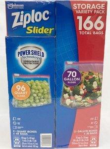 Ziploc Ziploc slider total 166 storage variety pack,2-gallon boxes x 35 bags+2-quart boxes x 48bags Parallel import