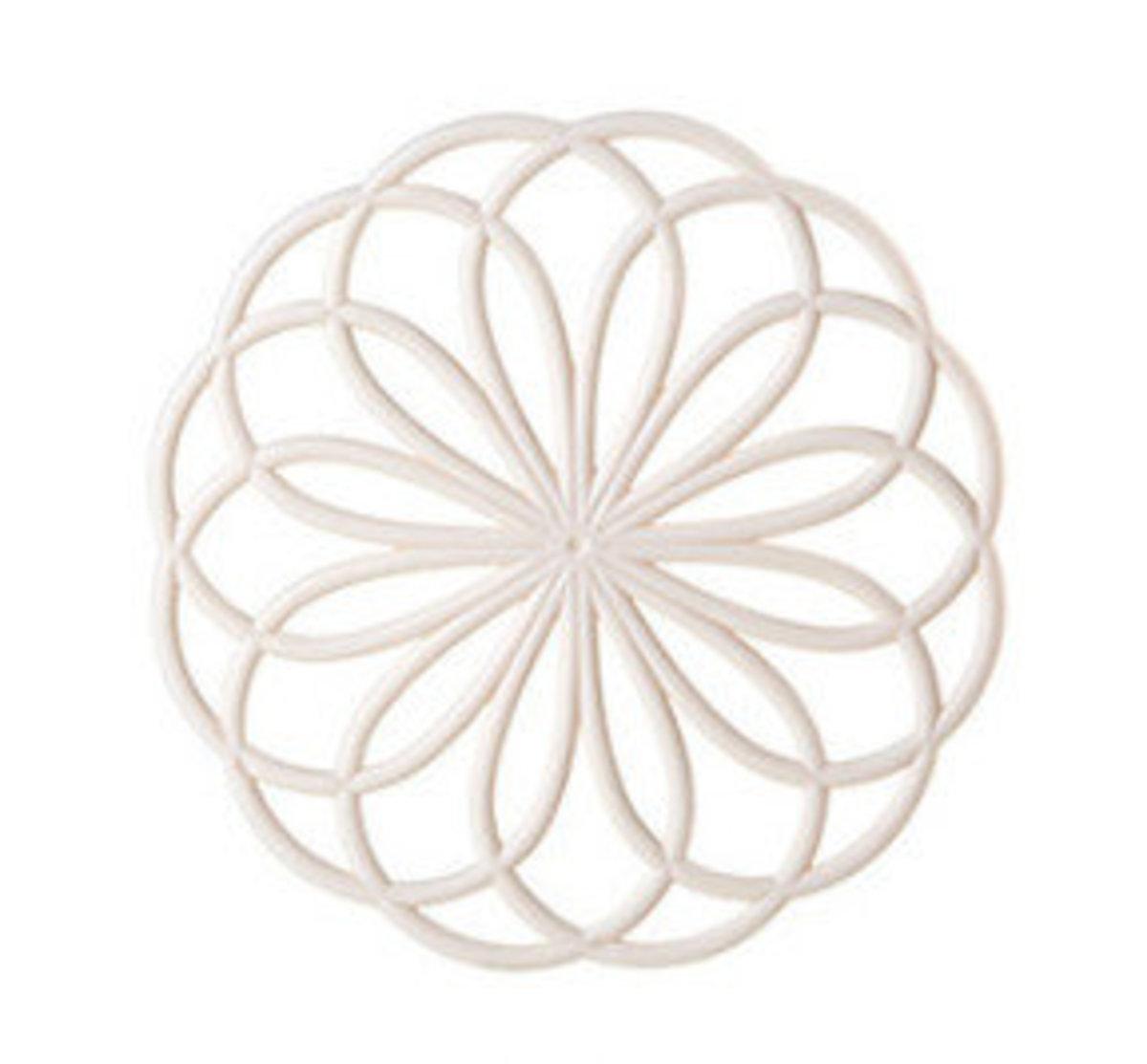 創意鏤空花花圓形防滑鍋墊(米白)