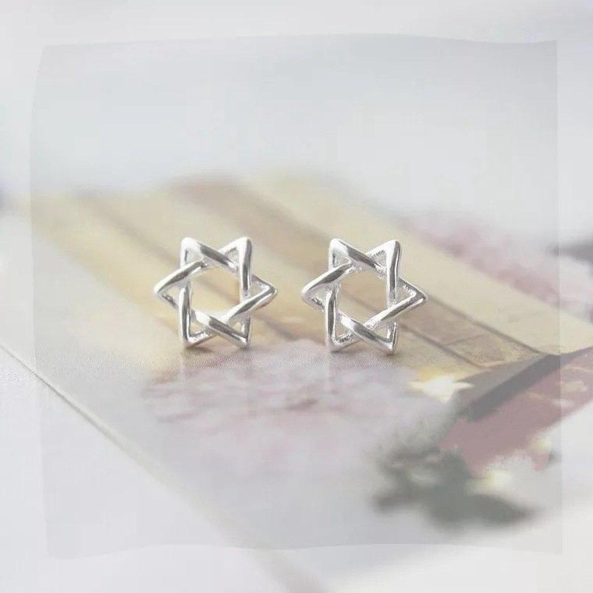 S925純銀日韓簡約防過敏耳釘耳環(六芒星)
